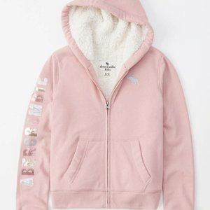 Pink  Sherpa Fleece Sequin Abercrombie Jacket